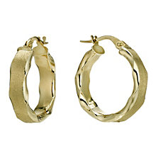 9ct gold matt twist creole earrings - Product number 9280278