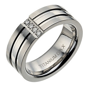 Men's diamond three band titanium ring - Product number 9280901