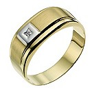 Men's 9ct yellow gold diamond ring - Product number 9281037