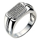 Men's square silver 25pt pave diamond ring - Product number 9281703