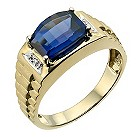 9ct yellow gold diamond created sapphire ring - Product number 9282610