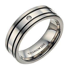 Men's titanium matt and polished diamond ring - Product number 9282882