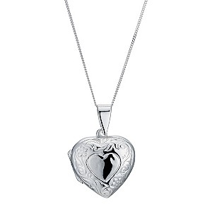 Silver Heart Scroll Locket - Product number 9283196