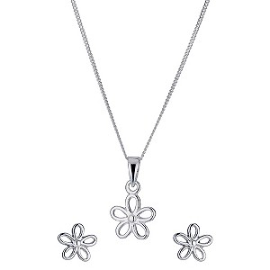 Silver Flower Earrings & Pendant Set - Product number 9283331