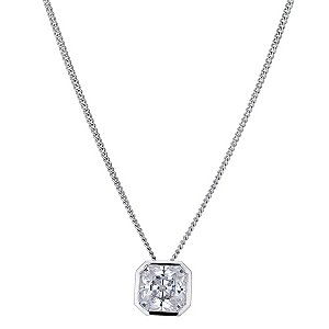 Platinum Plated Silver Cushion Cut Cubic Zirconia Pendant - Product number 9283463