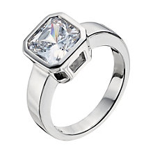 Platinum Plated Silver Cubic Zirconia Ring Size L - Product number 9283528