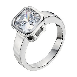 Platinum Plated Silver Cubic Zirconia Ring Size N - Product number 9283536