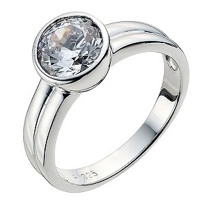 Platinum Plated Silver Cubic Zirconia Ring Size P - Product number 9283579