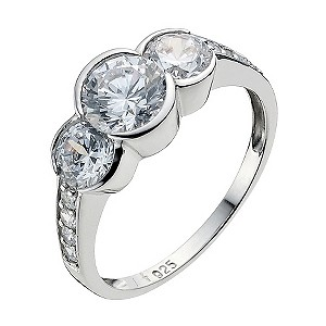 Platinum Plated Silver Cubic Zirconia Trilogy Ring Size N - Product number 9283609