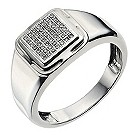 Men's silver square pave diamond ring - Product number 9283668