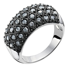 Silver & 0.75 point grey diamond cluster ring - Product number 9284249