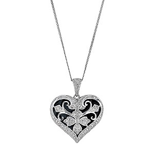 Silver enamel & diamond heart shape pendant - Product number 9284591