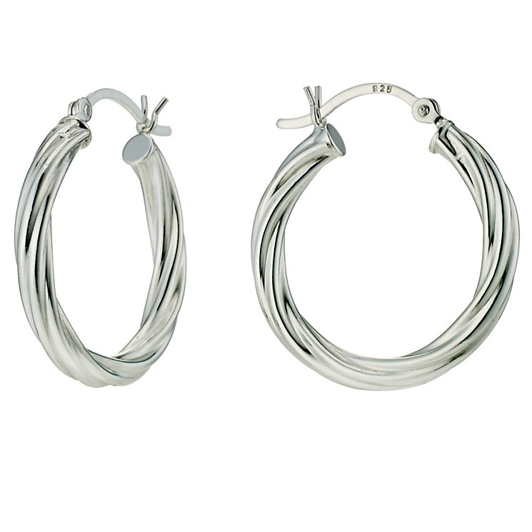 Silver Twist Hoop Earrings - Product number 9285393