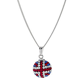 Silver Crystal Union Jack Ball Pendant - Product number 9285784