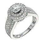 18ct white gold one and a half carat diamond cluster ring - Product number 9286268
