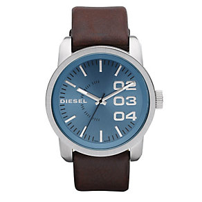 Diesel Double Down 46 Men's Brown Leather Strap Watch - Product number 9286462