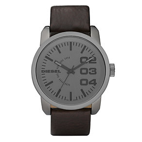 Diesel Men's Double Down 46 Brown Leather Strap Watch - Product number 9286489