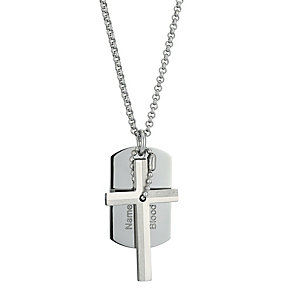 Stainless Steel Cross & Dog Tag Pendant - Product number 9288880
