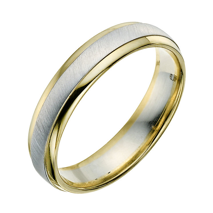 9ct yellow & white gold 5mm wedding ring - Product number 9289011