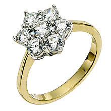 Silver & 18ct Gold Plated Swarovski Zirconia Cluster Ring - Product number 9289585