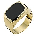 Together Bonded Silver & 9ct Gold Men's Onyx Ring - Product number 9290443