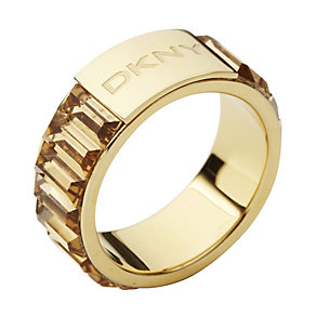 DKNY gold-plated baguette cut stone set ring - size M1/2 - Product number 9293817