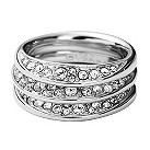 DKNY stainless steel stone twist set ring set - size M1/2 - Product number 9293876
