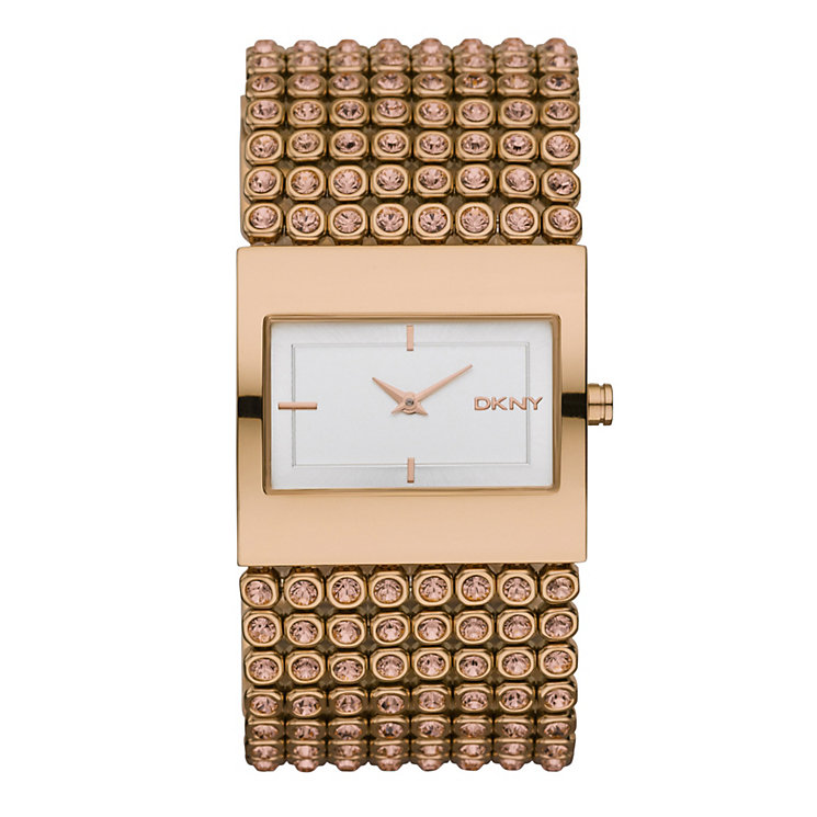 DKNY ladies' rose gold plated stone set bracelet watch - Product number 9294198