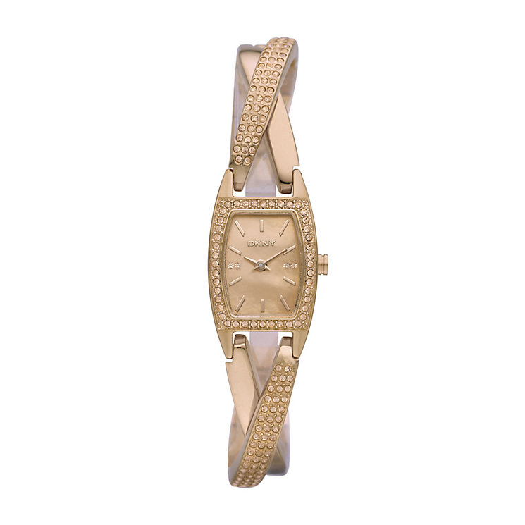 DKNY ladies' rose gold-plated stone set twist bracelet watch - Product number 9294465