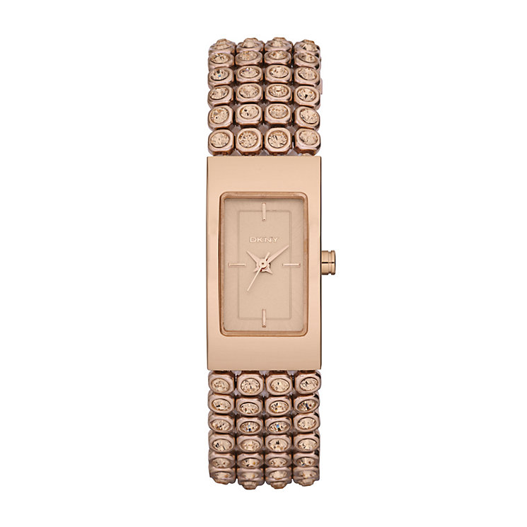 DKNY ladies' rose gold-plated & stone set bracelet watch - Product number 9294473