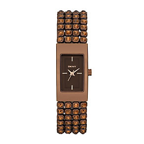 DKNY ladies' brown ion plated & stone set bracelet watch - Product number 9294503