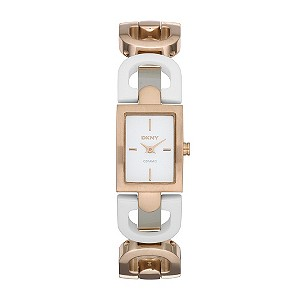 DKNY white ceramic & rose gold-plated D link bracelet watch - Product number 9294511