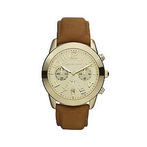 Michael Kors ladies' gold plated & tan strap watch - Product number 9294597