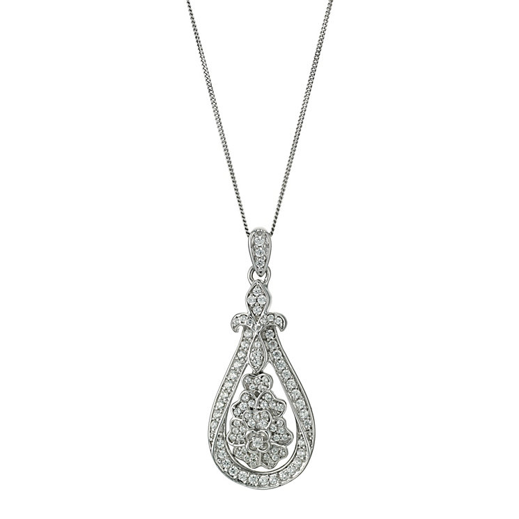 Celebration 9ct white gold diamond flower pendant - Product number 9295135