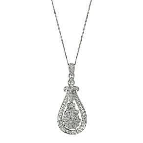 Celebration 9ct white gold diamond flower pendant - Product number 9295135