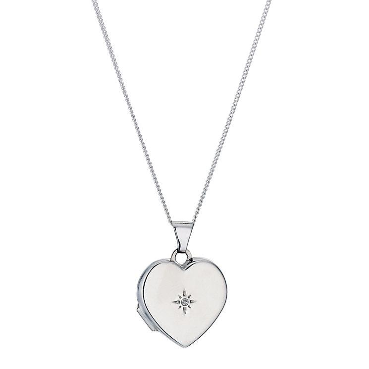 Jubilee sterling silver diamond set heart locket - Product number 9296042