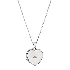 Jubilee sterling silver diamond set heart locket - Product number 9296042