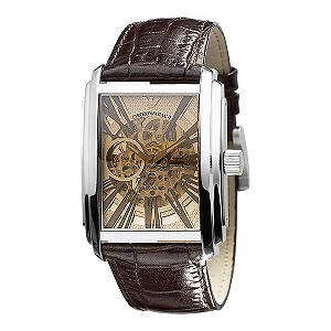 Emporio Armani Meccanico rectangular skeleton dial watch - Product number 9298355