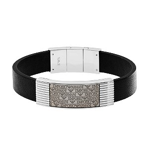Emporio Armani black leather bracelet - Product number 9298762