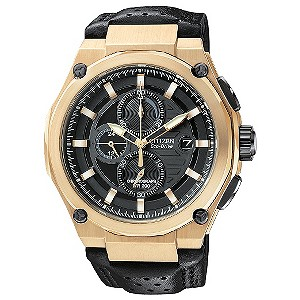 Citizen black rose gold-plated case & leather strap watch - Product number 9299416