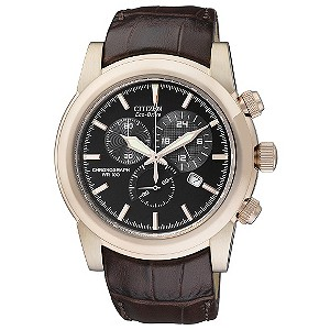 Citizen Eco-Drive men's gold plated brown strap watch - Product number 9299432