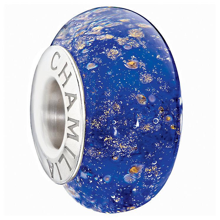 Chamilia dark blue glitter glass bead - Product number 9301674