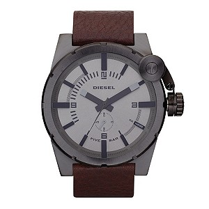 Diesel Men's Gunmetal & Brown Strap Watch - Product number 9303685