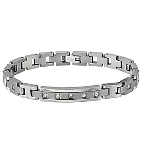 Titanium Men's Cubic Zirconia Set Bracelet - Product number 9304010