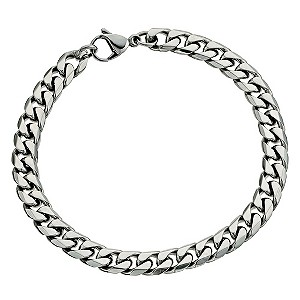 "Stainless Steel Men's 8.5"" Curb Bracelet - Product number 9304142"