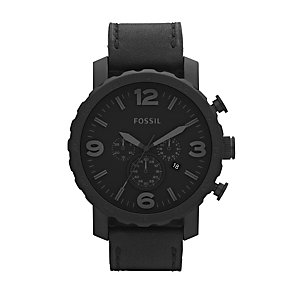Fossil Nate Black Leather Strap Watch - Product number 9304517