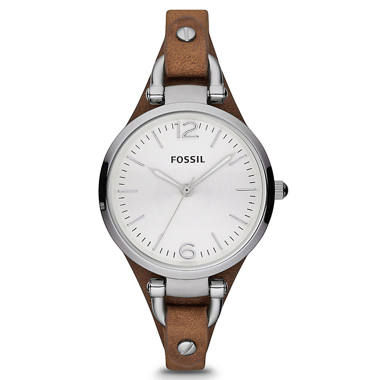 Fossil Georgia Brown Leather Cuff Watch - Product number 9304576