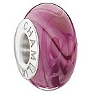 Chamilia dark pink mix glass stripe bead - Product number 9305734