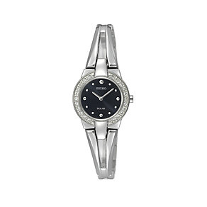 Seiko ladies' stainless steel & stone set bangle watch - Product number 9308326