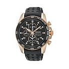 Seiko men's black strap chronograph watch - Product number 9308334